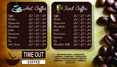 time out coffee menu